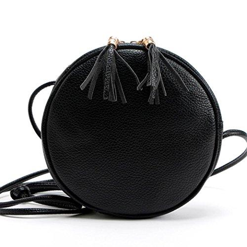 Tongshi Mujeres de la muchacha redonda bolso de cuero bolso Messenger (Negro)