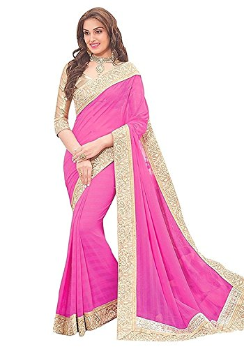 Voolka Stin Chiffon Saree (202_Pink And Off-White)