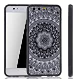 König-Shop Handy Hülle Mandala geeignet für Huawei P10 Design Case Schutzhülle Motiv Kreis Cover Silikon Tasche Bumper Schwarz