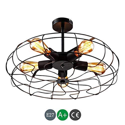 ● Luz de techo industrial Estilo vintage Montaje empotrado Ventilador de techo...