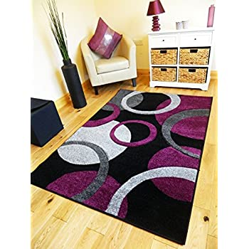 5 sizesnew small medium xx large modern purple black silver carved quality hall runner living room mat cheap bedroom office soft rug 200 x 290 cms