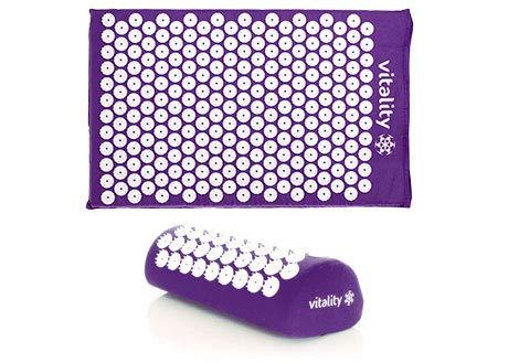 VITALITY Akupressur-Set (violett): Akupressurmatte (68 x 42cm) und Akupressurkissen (37 x 15 x 10cm), Durchblutung Fördern, Rücken Revitalisieren und Nacken Entspannen mit Akupressur Matte und Kissen