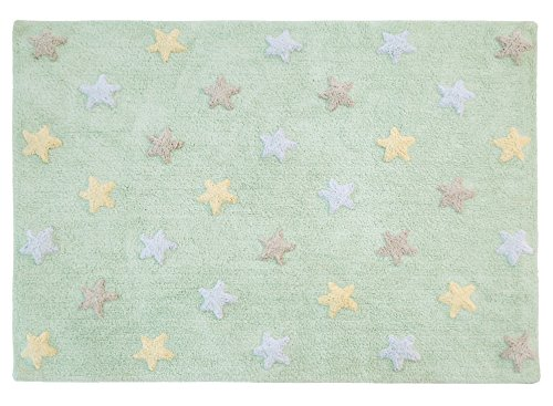 Lorena Canals Alfombra lavable C-ST-SM Tricolor Stars Soft Mint - 120 x 160 cm