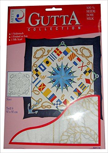 ARTY'S GUTTA COLLECTION - Motiv: Navi - Twill 8, ca. 90x90cm, rollierte Ränder (Gutta gold) Gold-twill