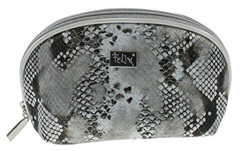 Schwarz Grau Schlange (FELIX Kosmetik-Täschchen Schlangen-Muster Schwarz Grau leicht glitzernd 20 x 12 x 7,5 cm Schmink-Etui)