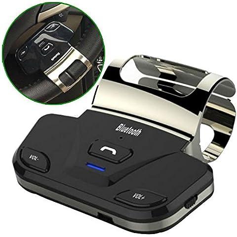 Eximtrade Auto Coche Volante Bluetooth Control Remoto Manos Libres Altavoz Micrófono para Apple iPhone 4/4s/5/5s/6/6s/6 Plus/6s Plus, Samsung Galaxy S4/S5/S6/S6 Edge/S6 Edge Plus/Note 3/Note 4/Note 5, HTC One, Motorola, Sony Xperia, otro Smartphones y tablets