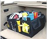 BAKLER Kofferraumtasche flach faltbar + GRATIS: 2 Autositz-Seiten-Schlitz-Taschen, Kofferraum-Organizer Klappbox