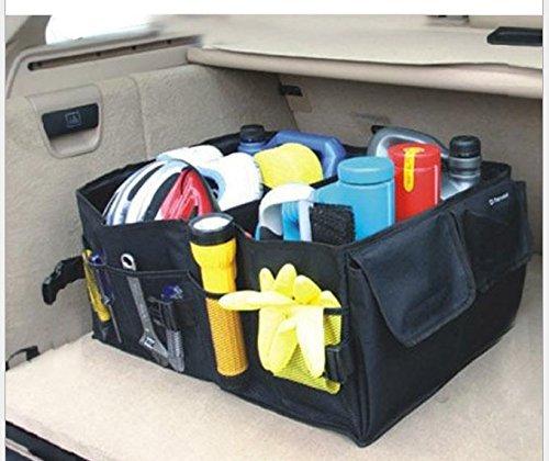 Preisvergleich Produktbild BAKLER Kofferraumtasche flach faltbar + GRATIS: 2 Autositz-Seiten-Schlitz-Taschen, Kofferraum-Organizer Klappbox