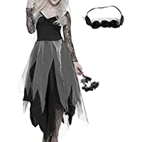 1eee511899 New Soul Halloween Costumes Women Graveyard Bride Corpse Dress Ladies Lace  Fancy Dress with Headband Black Cosplay