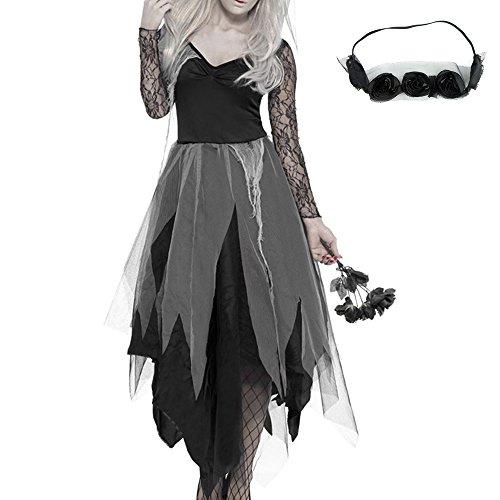 Halloween Kostüm Damen Zombie Braut Leiche Vampir Gruseliger Effekt Kleid Sexy Hexe Zombie Brautkleid (Hexen Sexy)
