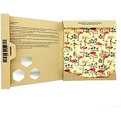 SuperBee Enveloppes de cire d'abeille. Ensemble de 3: Petit, Moyen et Grand | Emballage Alimentaire Réutilisable Écologique | Flamants