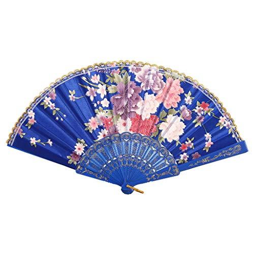 MOTOCO Damen Faltfächer Blumenmuster Seidenfächer Handfächer Eleganter Tanzfächer Hochzeitsdekoration (Kirsche-holz-küche-tisch)