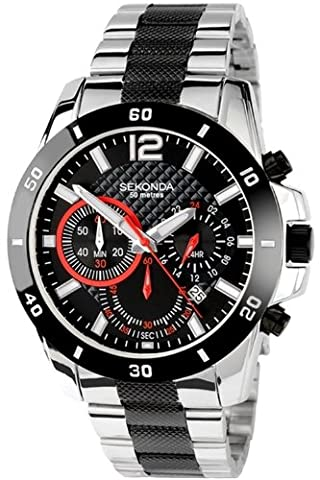 SEKONDA Unisex-Adult Quartz Watch, Chronograph Display and Stainless Steel Strap 3420.27