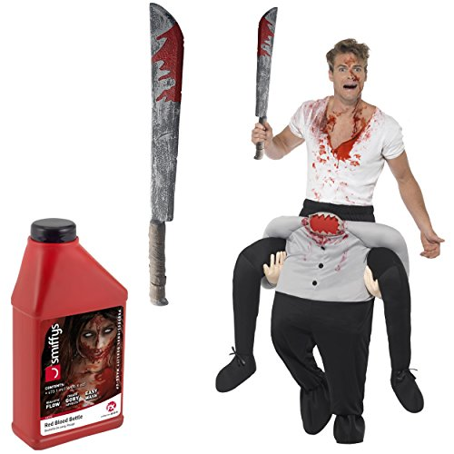 Oramics Halloween außergewöhnliches Kopflos Horror Kostüm, Huckepack, Zombie Trag Mich Piggyback mit Beinen inklusive Spielzeug-Machete und Fake-Blut, originelle Verkleidung und Kostümidee für Männer und Frauen