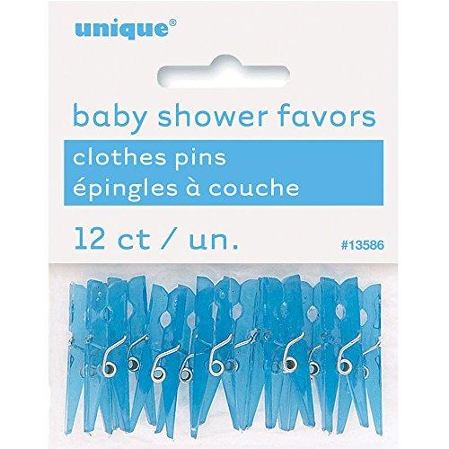 Unique Party Supplies Kunststoff blau Wäscheklammer Baby Dusche für, 12Stück (Wäscheklammern Für Baby-dusche)