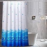 Wasser tropfen duschvorhang, Duschvorhänge stoff Dick Wasserdicht und mehltau Freier stempel Blaue duschvorhänge für badezimmer-Weiß W120xH180cm(47x71inch)