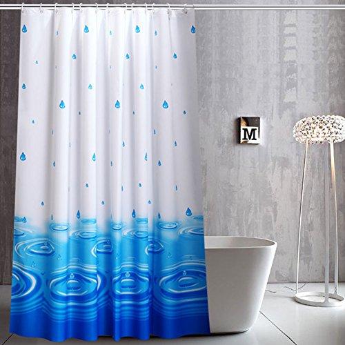 , Duschvorhänge Stoff Dick Wasserdicht Und Mehltau Freier Stempel Blaue Duschvorhänge Für Badezimmer-A 300x200cm(118x79inch) ()