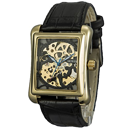 Sewor Men's Mechanical Hand-Wind Hollow Wrist Watch with Fasion Design (Black)