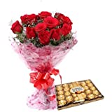 Fresh Flower Bouquet (Bunch of 12 Red Rose) - FFCO0004M