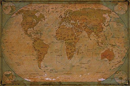 Mappa del mondo atlante globo - mappa storica del mondo FOTOMURALE - vintage retrò motivo - XXL mappe del mondo quadro da parete /decorazione da par ete - old age world map by GREAT ART (210 x 140 cm)