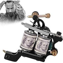 Máquina de Tatuaje Profesional Kit de Tatuaje Shader Hierro 10 Bobinas de Cobre de Cobre Colorante Forro Herramienta de Arte Corporal