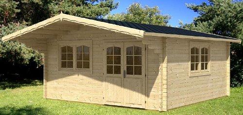 Gartenhaus ENZO - D40 Blockhaus 500x500cm - 40mm - Inkl. Fußboden+Verglasung Gartenlaube Holzhaus Holzlaube