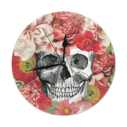 best gift Wall Clock,Frida Kahlo Skull Silent Non Ticking 9.84 Inch Battery Operated Round Easy to Read Home,Office,School Clock
