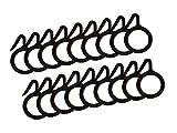 SmartShophar Curtain Ring 18 Pcs Plastic Black 1.5 inch