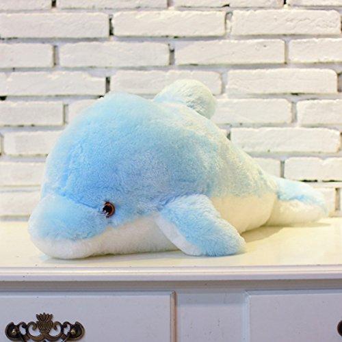 Blu, 45cm Zinsale 7 cambi di colore LED Lighten Giocattolo farcito con i delfini Cuscino peluche Luce notturna