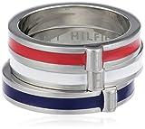 Tommy Hilfiger Damen-Ring Edelstahl Emaille weiß blau rot Gr. 52 (16.6) 2700139B