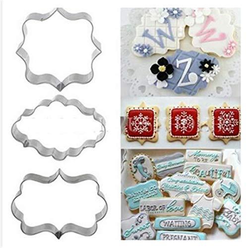 Hemore 3Stück Edelstahl Cookie Cutter, Metall Kuchen Gemüse Obst Biscuit Ausstecher Formen Set, Silber Cookies Ausstechformen