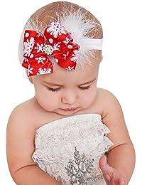 DAY8 Bandeau Cheveux Bébé Fille Noël Baptême Hiver Noeud Bandeau Bébé Fille  Naissance Cérémonie Photographie Plume Enfant Headband élastique… adedda7db33