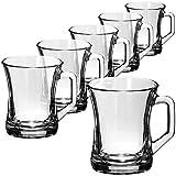 COM-FOUR Juego de vasos de té de 6 piezas - Vasos para bebidas con asas - Vasos de café exprés resistentes al calor - Tazas de café (200 ml - 06 piezas)