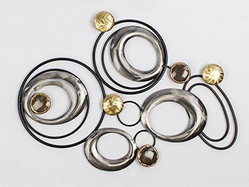 Formano moderna Decorazione a parete Quadro su tela Metallo Design Art. argento marrone con Elementi dorati circa 46x60cm Art. 670724