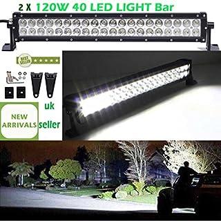 2pcs120W 53,3cm 40LED Light Bar Spot & Flood Combo Arbeit Lampe für SUV 4WD Traktor