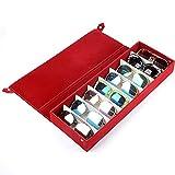 EMVANV Aufbewahrungsbox für Brillen und Brillen, 8 Fächer, für Schmuck, mit Abdeckung, rot, Free Size