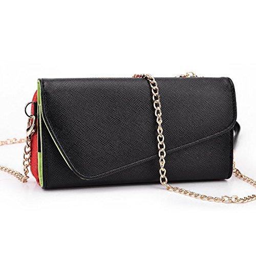 Kroo d'embrayage portefeuille avec dragonne et sangle bandoulière pour Yezz ANDY AZ4.5/4,5m Multicolore - Black and Green Multicolore - Noir/rouge