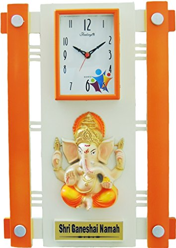 Feelings Silkina Ganesh wall Clock (Orange , Multicolor) with glass Feelings Silkina Ganesh wall Clock (Orange , Multicolor) with glass 51Z9UclItbL