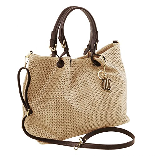 Tuscany Leather TL KeyLuck - Borsa shopping TL SMART in pelle stampa intrecciata - Misura Grande - TL141568 (Nero) Beige