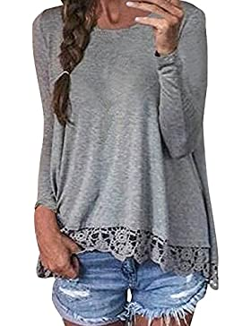 Fortuning's JDS Sexy Casuale Autunno allentato Crochet Lace manica lunga Patchwork Top camicetta Jumper T-Shirt...