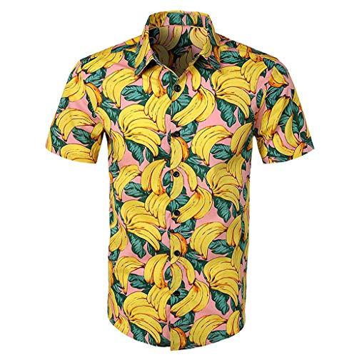 ASHOP Hawaiihemd Herren, Herren Hawaiisches Aloha-Shirt mit Strand Blumendruck für Männer Kurzarm Floral Button Down Kurzarm Hemd Gelb,XXL -