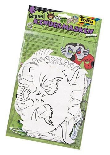 folia 23239-Niños Máscaras famowesta 6Unidades en 6Motivos Surtidos, Color Blanco