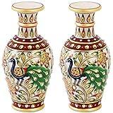 Handicrafts Paradise Peacock Painted Marble Flower Pot (7.65 Cm X 7.65 Cm X 15.3 Cm, Set Of 2)