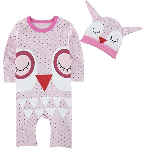 Mombebe Baby Mädchen Halloween Kostüm Säugling Eule Strampler Overall mit Hut (Eule, 9-12 Monate)