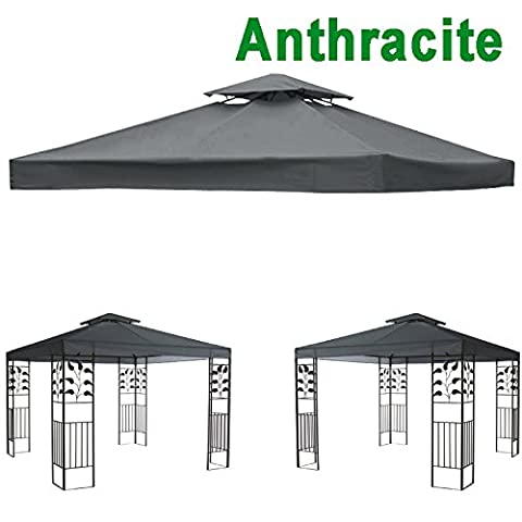 Greenbay 2-Tier Replacement Top Fabric for 3x3m Gazebo Pavilion Roof Canopy Anthracite