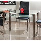 Muebles Bonitos – Mesa de comedor Neris 120x70cm. Cristal transparente.