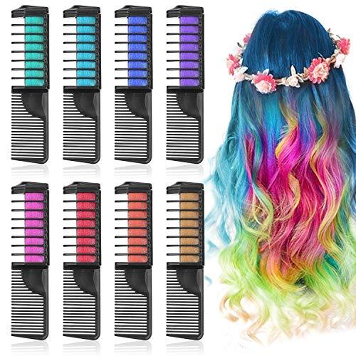 Lictin capelli gesso pettine - 8 colori gessetti per capelli temporanea gesso colore set per bambini capelli tintura ideali per party, natale e cosplay diy