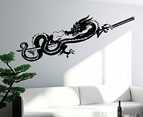 GGWW Wall Decal Dragon Sword Katana Myth Mythology Fantasy Monster Cool Interior (Z2710)