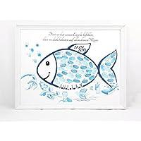 Fingerabdruck Fisch Taufe Geschenk, Taufe Gästebuch Alternative, Fingerabdruck Baum Taufe 29x42cm Poster