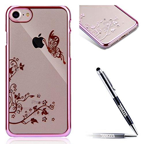 iPhone 8 Custodia, iPhone 8 Cover, iPhone 8 4.7 Custodia Trasparente, JAWSEU Sparkles Cristallo Chiaro Super Sottile Case Custodia Cover per iPhone 7 / 8 con Placcatura telaio con il modello del dente Farfalla Rosa